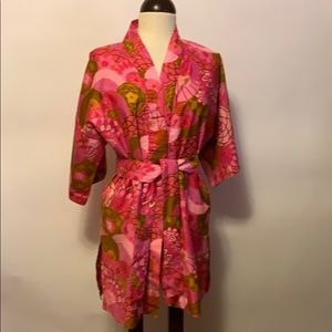 Vintage Pink Floral Robe with Attached Belt